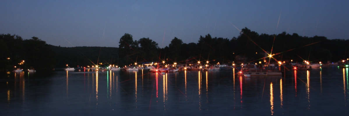 boats tied up for fireworks display